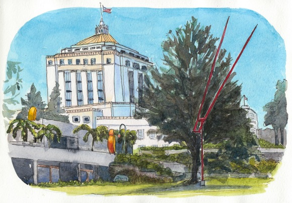 View from Oakland Museum Sculpture Garden, ink & watercolor, 8x10""