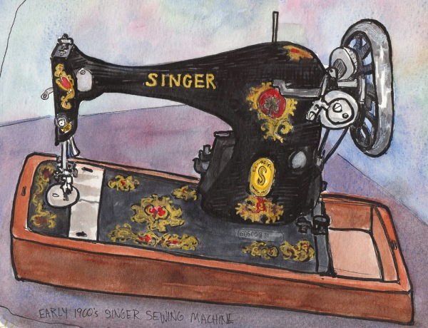 Singer Sewing Machine circa early 1900s, ink & watercolor