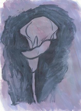 """Lily sketch #4?, gouache, 8x10"""""""