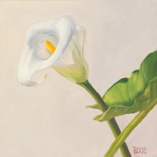 """Lily White on White,"" oil on Gessobord panel, 8x8"""