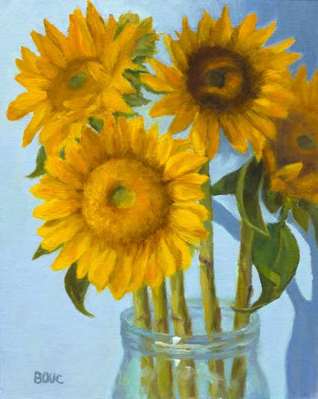 Sunflowers on Blue, oil on linen panel, 10x8""