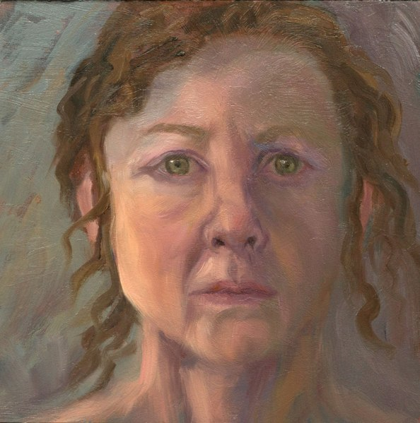 "Self Portrait, Oil on panel, 6x6"""