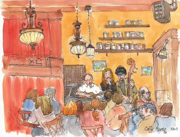 Tuesday Night at Cafe Trieste, ink & watercolor, 8x10""