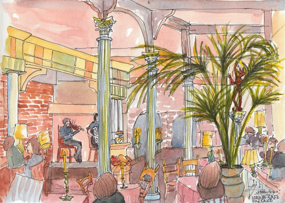 Loring Cafe, Oakland, ink & watercolor, 8x10""
