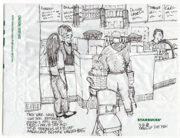 Sketched at Starbucks on Starbucks Pastry Bag
