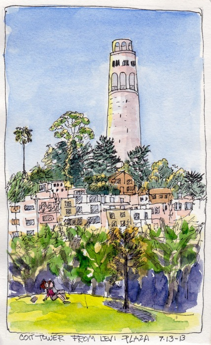 """Coit Tower, from Levi Plaza, SF Sketchcrawl 40, ink & watercolor 7x5"""""""