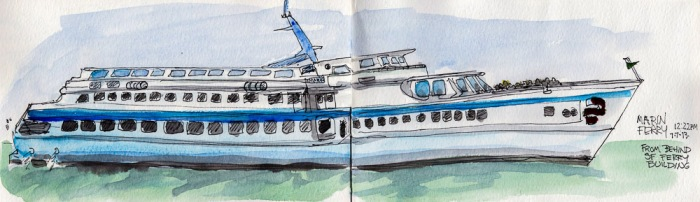 Marin Ferry, ink & watercolor 5x14""