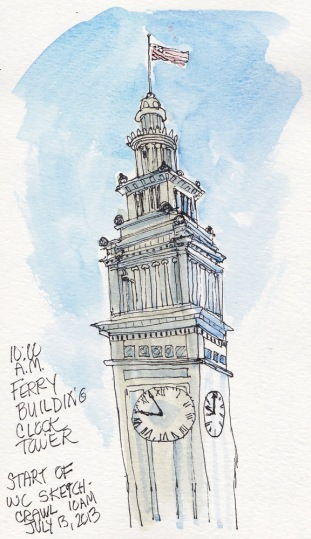 Ferry Building Clock Tower, ink & watercolor, 7x5""