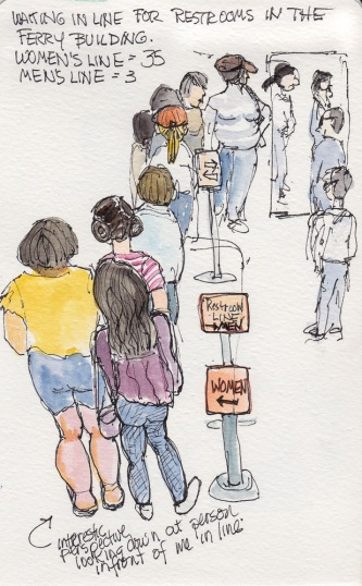 Standing in Line for the Ferry Building Restrooms, ink & watercolor 7x5""