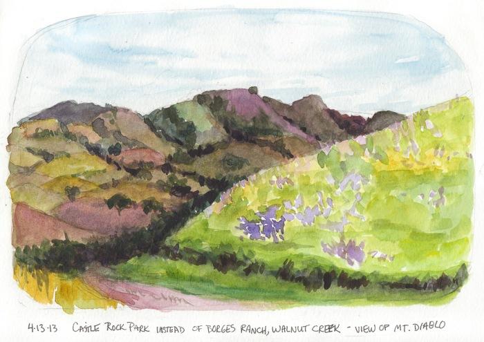 """Castle Rock Park and Mt. Diablo, Spring, 8x10"""""""
