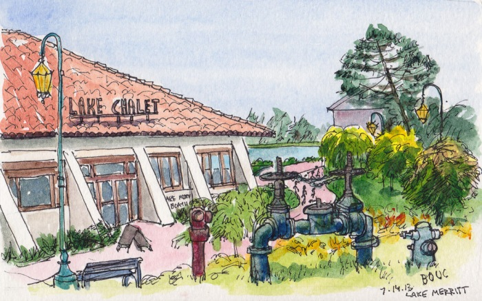"Lake Chalet on Lake Merritt, Oakland. Ink & watercolor, 5x7.5"""