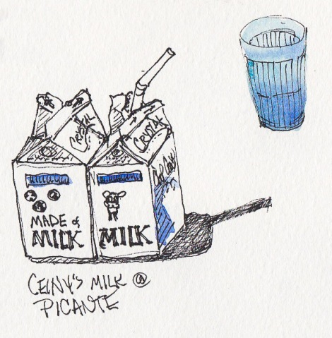 Milk at Picante, ink & watercolor, 5x5""