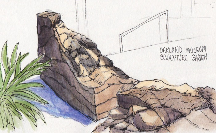 """Drawing Rocks Practice on Sculpture at Oakland Museum, ink & watercolor, 5x7x5"""""""