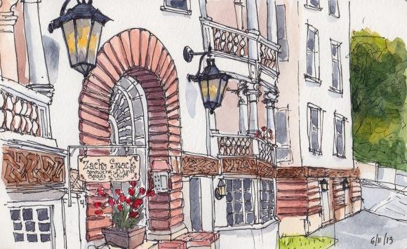 """Zach's Snacks on Berkeley's Northside, ink & watercolor sketch, 5x7"""""""
