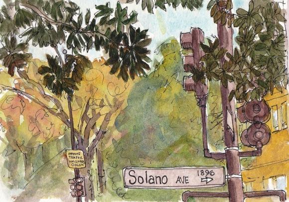 "Top of Solano Ave, Berkeley, Ink & watercolor, 5x7.5"""