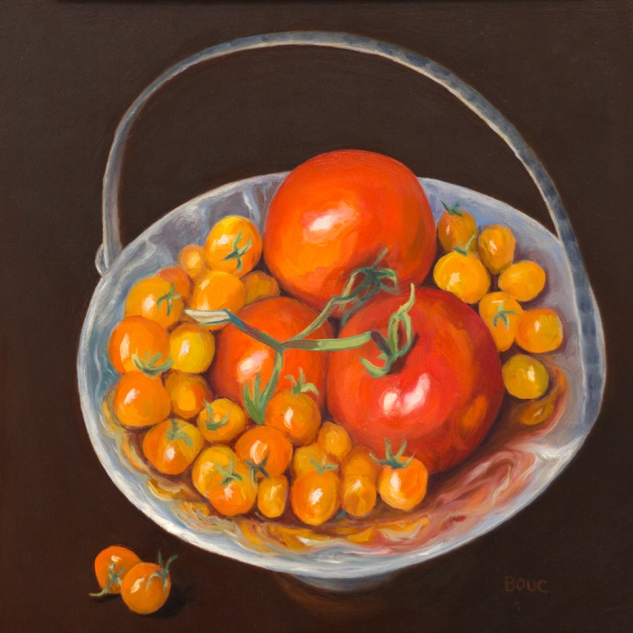 """Happy Boy Farms Tomatoes, Oil on Gessobord panel, 12x12"""""""