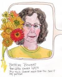 Self portrait with birthday flowers