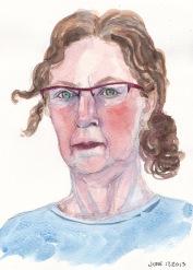 "Grumpy Strained Self-Portrait, ink & watercolor, 10x8"""