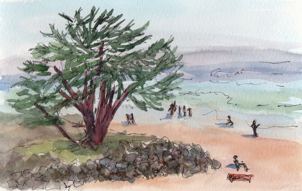 Santa Cruz Beach from Bluff, in & watercolor, 5x7""