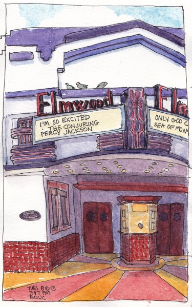 Elmwood Theater, Ink & Watercolor, 8x5""