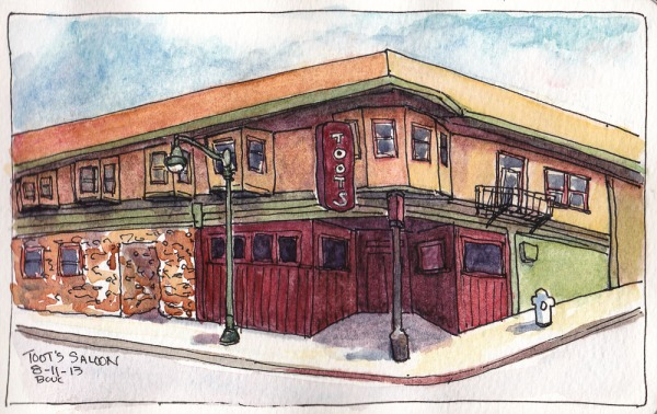 Toot's Bar in Crocket - Second Try , ink/watercolor, 5x8""