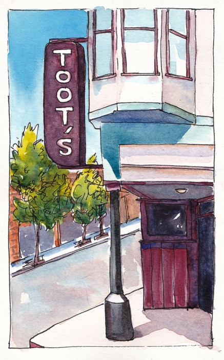 Toot's Bar, Crockett, Close Up, Ink/watercolor, 8x5""