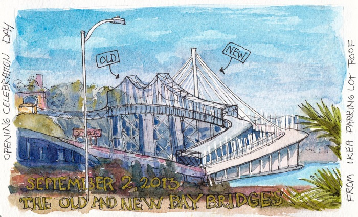 New and Old Bay Bridges, ink & watercolor, 5x8""