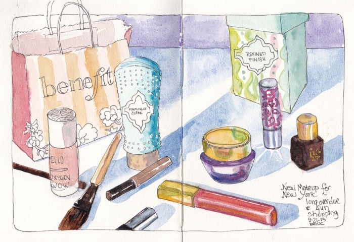 "New Makeup for New York, ink and watercolor, 7.5"" x 11"" spread"