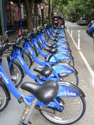 """A stand of """"Citi-Bikes"""" you can takle for 30 minutes and leave at the next stand."""