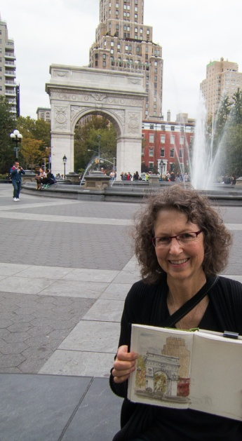 Me and my sketch of Washington Square, Greenwich Village