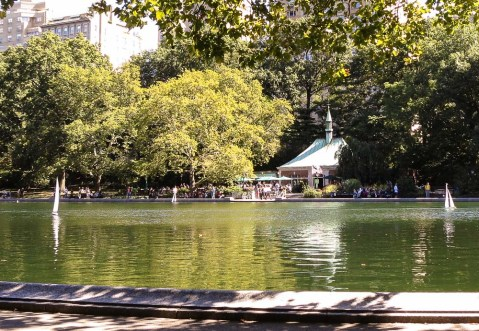 Photo of Central Park's Conservatory water from where we were sketching in the park