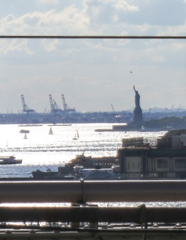 Statue of Liberty and the harbor