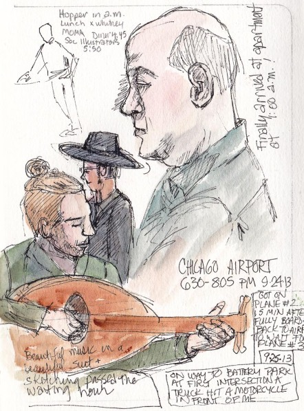 Waiting at Chicago Airport, ink and watercolor 5.5 x 7.5""