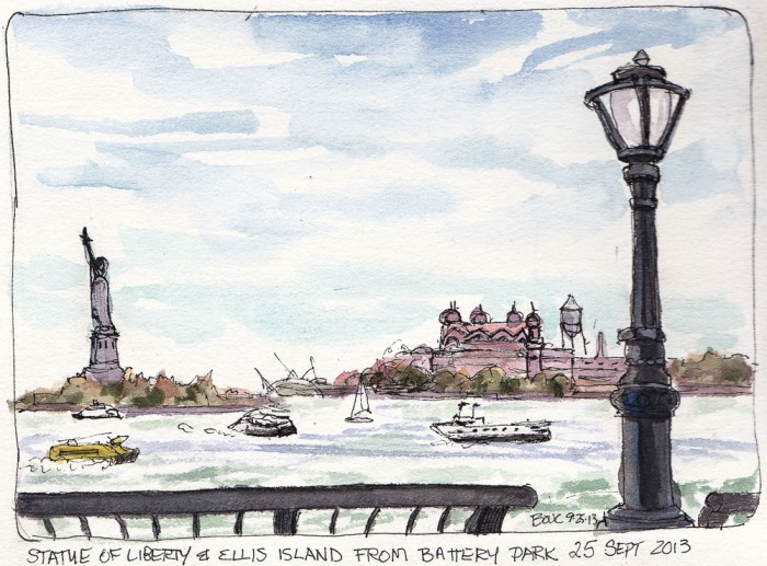 """Battery Park, Statue of Liberty, Ellis Island, ink and watercolor, 5.5x7.5"""""""