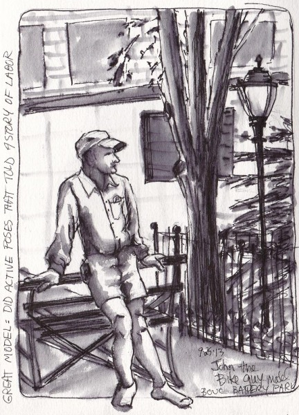Battery Park Figure Sketching, ink, 7.5x5.5""