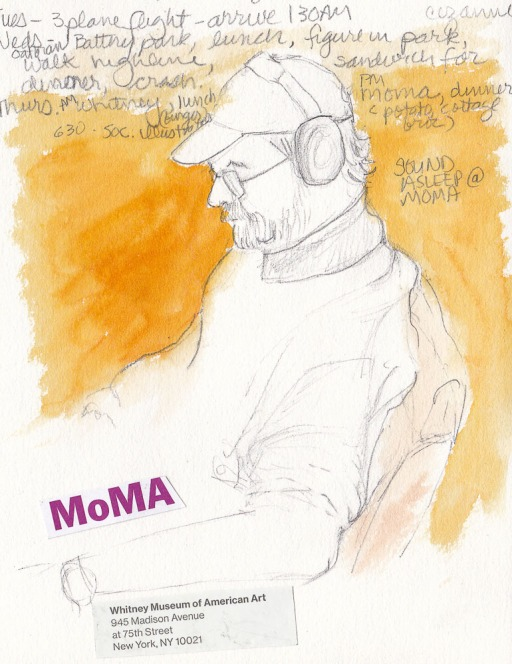 Sleeping Guy at MoMa, NY, pencil and watercolor, 7x5.5""