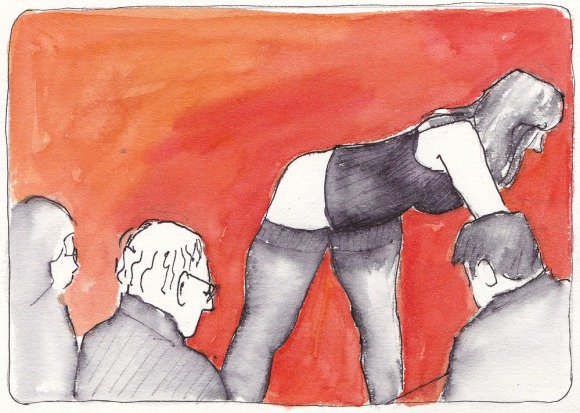 """Model and Artists at Society of Illustrators, NY, ink and watercolor 5.5x7.5"""""""