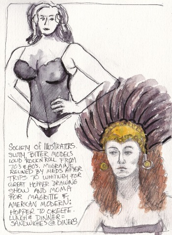 "Models at Society of Illustrators, NY Figure Drawing, 7.5""x5.5"""