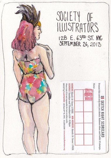 "Model at Society of Illustrators, NY Figure Drawing, 7.5""x5.5"""