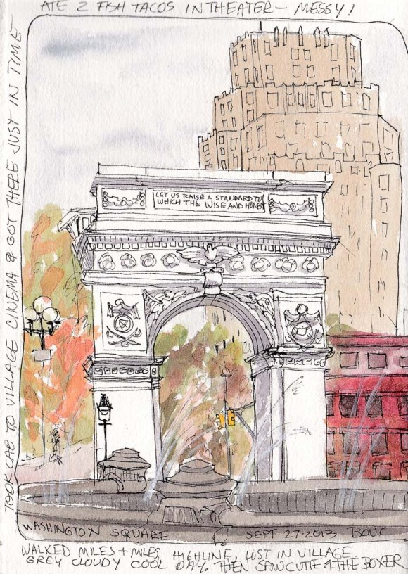 Washington Square Park Arch and Fountain, ink and watercolor, 7.5 x 5 in