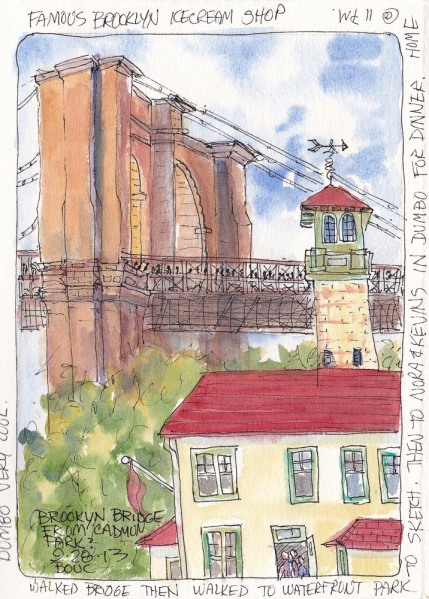 Brooklyn Bridge and Ice Cream Shop, ink and watercolor, 7.5x5.5 in