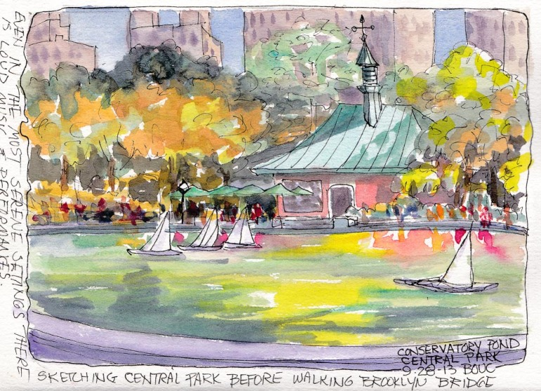 "Central Park Conservatory Water, NY, ink and watercolor, 5x5""x7.5"""