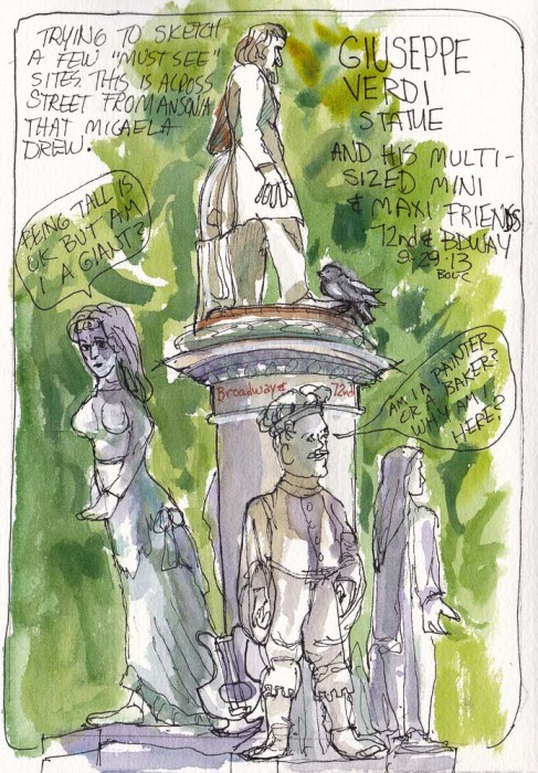 Guiseppe Verdi Statue, NY, ink and watercolor, 7.5 x 5.5 in