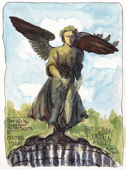 Bethesda Fountain Angel, ink and watercolor, 7.5 x5.5 in