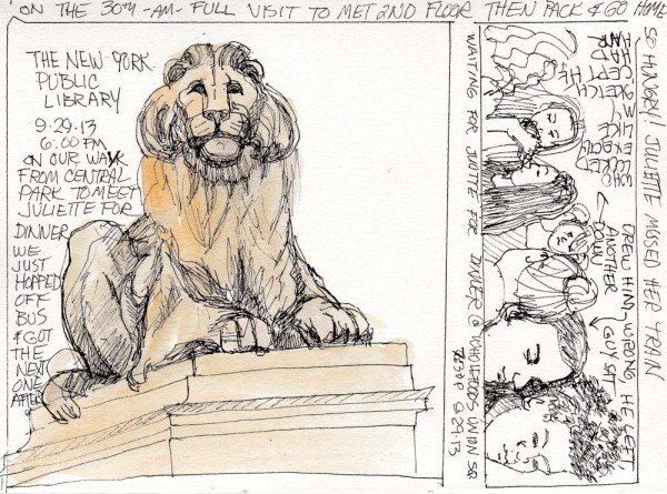 NY Public Library Lion, ink and watercolor, 5.5 x 7.5 in