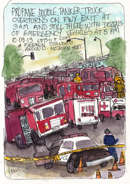 Emergency response vehicles after double tanker truck overturned. Ink and watercolor, 7x5 in