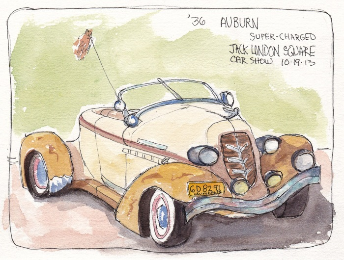 1936 Auburn Supercharged, Jack London Car Show, ink and watercolor, 5x7 in