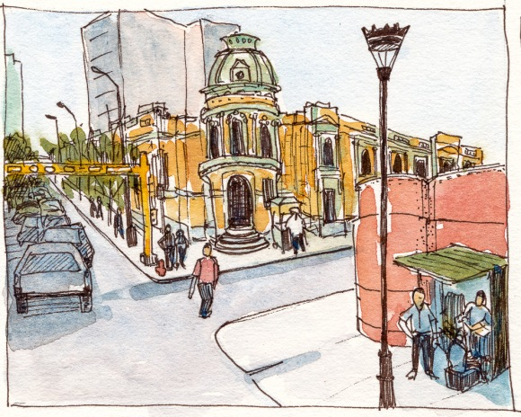 Lima, Peru, ink and watercolor from Google Streetview, 4x5 in