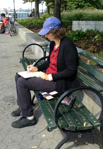 Me sketching in Battery Park