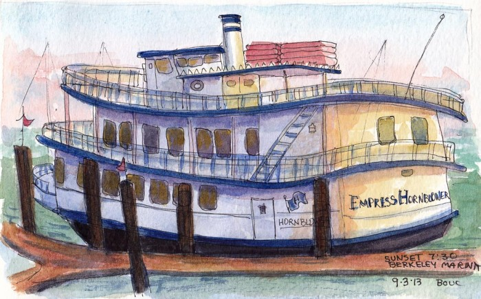 Empress Hornblower at Sunset, ink and watercolor, 5x7 in